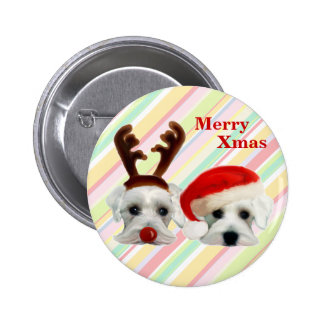Christmas Schnauzers 6 Cm Round Badge