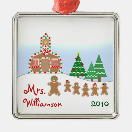 Christmas Schoolhouse Scene - Gingerbread Teacher Ornament