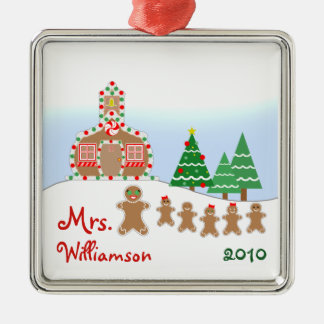 Christmas Schoolhouse Scene - Gingerbread Teacher Metal Ornament