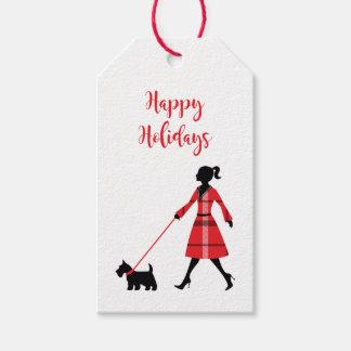 Christmas Scottie Dog Tartan Plaid Dog Walker Gift Tags