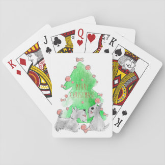 Christmas Scotties Playing Cards