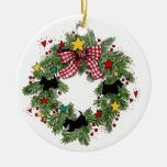 Christmas Scotties Wreath Ornament