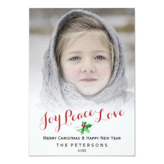 Christmas Script Joy Peace   Holly Holiday Photo 13 Cm X 18 Cm Invitation Card