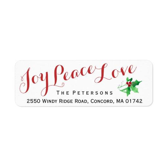 Christmas Script Joy Peace Love Holly Custom Return Address Label