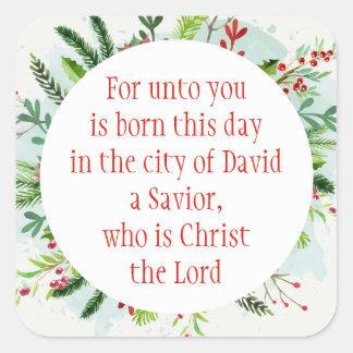 Christmas Scripture Luke 2:11 Watercolor Floral Ar Square Sticker