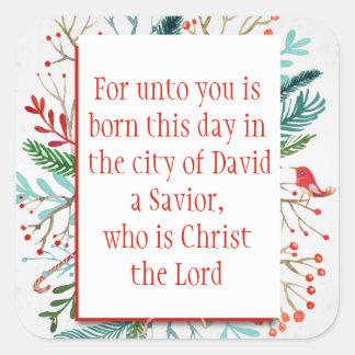 Christmas Scripture Luke 2:11 Watercolor Floral Square Sticker