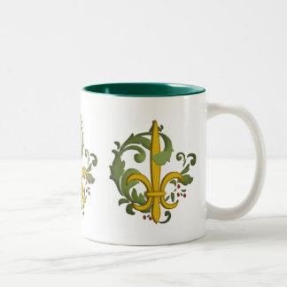 Christmas Scroll Fleur de lis Mug