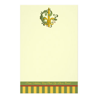 Christmas Scroll Fleur de lis Stationery