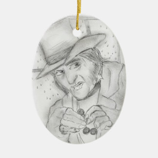 Christmas - Scrooge in Black and white Ceramic Ornament