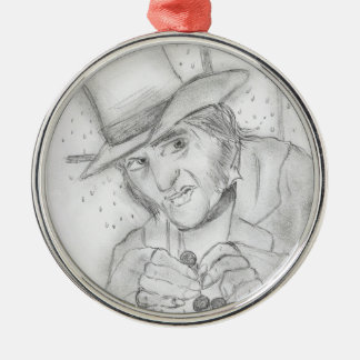 Christmas - Scrooge in Black and white Metal Ornament