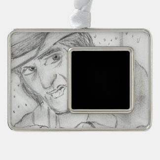 Christmas - Scrooge in Black and white Silver Plated Framed Ornament