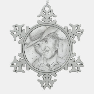 Christmas - Scrooge in Black and white Snowflake Pewter Christmas Ornament