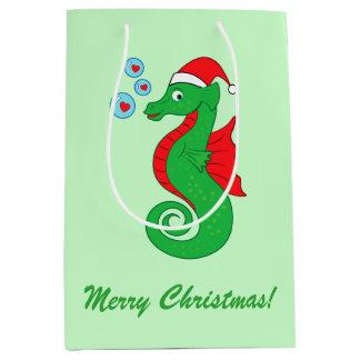 Christmas Sea Horse with Santa Hat Medium Gift Bag