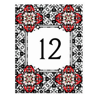 Christmas Season Damask Elegant Table Number Postcard