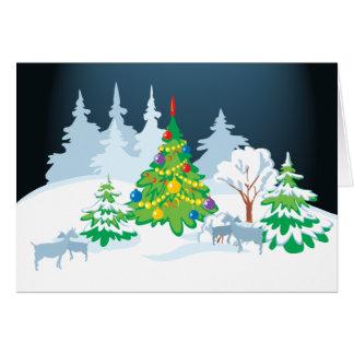 Christmas Serene Goats at  Night Greeting Card