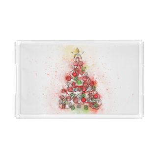 Christmas Serving Tray with Red Christmas Tree