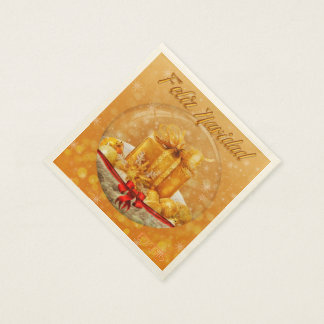 CHRISTMAS SEVILLETAS GOLDEN GIFT DISPOSABLE NAPKINS