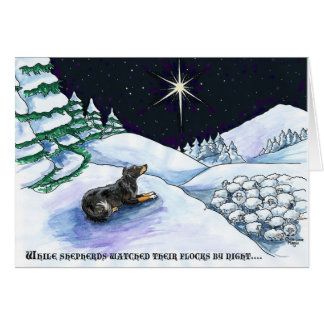Christmas shepherd watches flocks by night greeting card