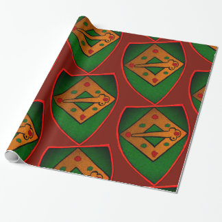 Christmas Shield Maroon Wrapping Paper
