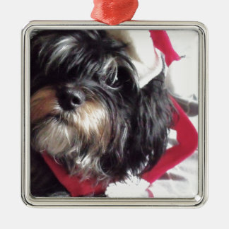 Christmas Shih Poo Metal Ornament