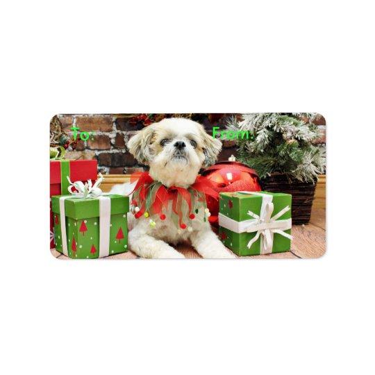 Christmas - Shih Tzu - Bailey Address Label