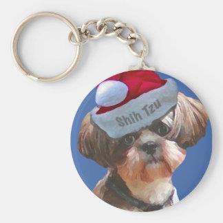 Christmas Shih Tzu Basic Round Button Key Ring