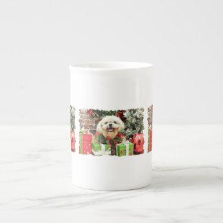 Christmas - Shih Tzu - Cubby Bone China Mug
