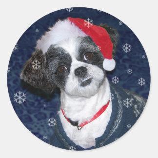 Christmas Shih Tzu Dog Classic Round Sticker