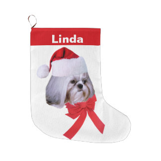 Christmas, Shih Tzu Dog, Santa Hat, Customizable Large Christmas Stocking