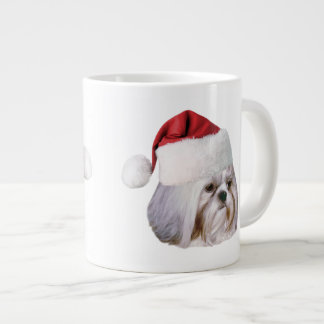 Christmas, Shih Tzu Dog, Santa Hat Large Coffee Mug