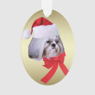 Christmas, Shih Tzu Dog, Santa Hat Ornament