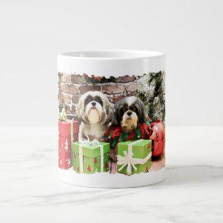 Christmas - Shih Tzu - Maggie and Vince Jumbo Mugs