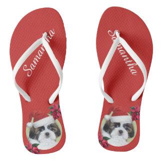 Christmas Shih Tzu personalized flip flops