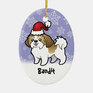 Christmas Shih Tzu (puppy cut) (add pets name) Ceramic Ornament