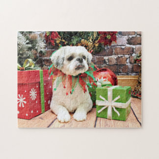 Christmas - Shih Tzu - Teddy Jigsaw Puzzle