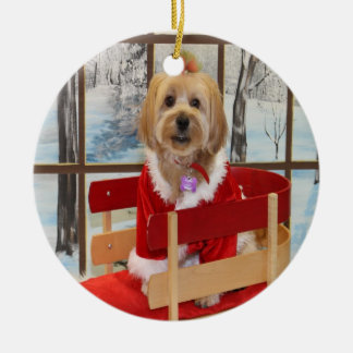 Christmas Shih Tzu Toy Dog on a Sled Ornament