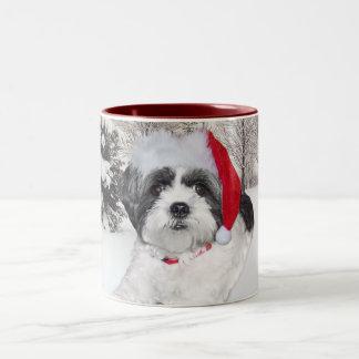 Christmas Shih Tzu Two-Tone Mug