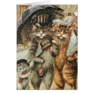 Christmas Shopping Cats. Card