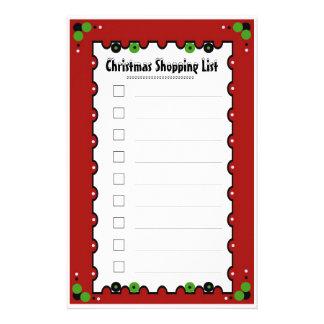 Christmas Shopping List Custom Stationery