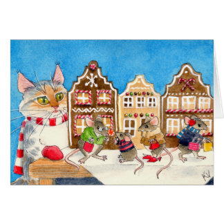 Christmas shopping mice and cat card