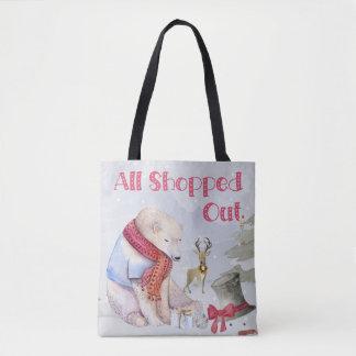 Christmas shopping sleepy bear tote bag