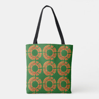 Christmas Shopping Tote Red Green Naughty Nice
