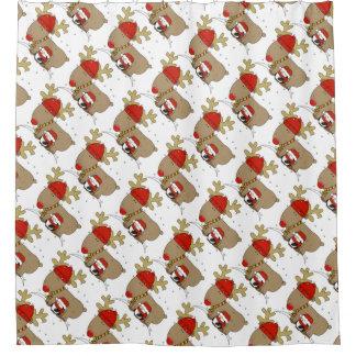 Christmas Shower Curtain/Santa and Rudolph Shower Curtain