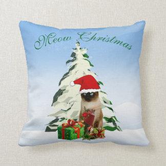 Christmas Siamese Cat 16 x 16 Decorative Pillow