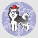 Christmas Siberian Husky / Alaskan Malamute Round Sticker