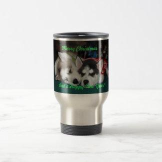 Christmas Siberian Husky Puppies Mug