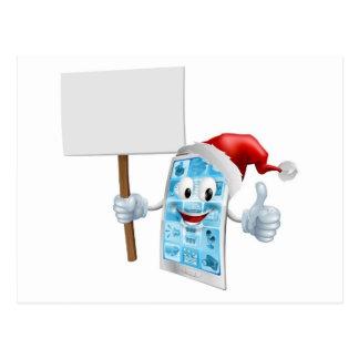 Christmas sign mobile phone post card