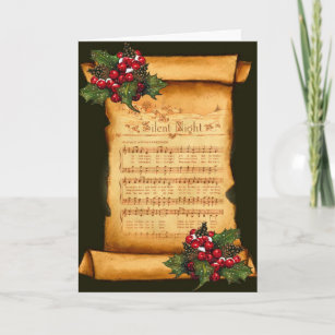 Christmas: Silent Night Sheet Music on Old Scroll Holiday Card