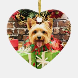 Christmas - Silky Terrier - Haley Ceramic Ornament