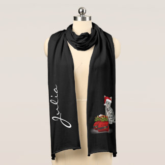 Christmas Silver Cat with Your Name Scarf